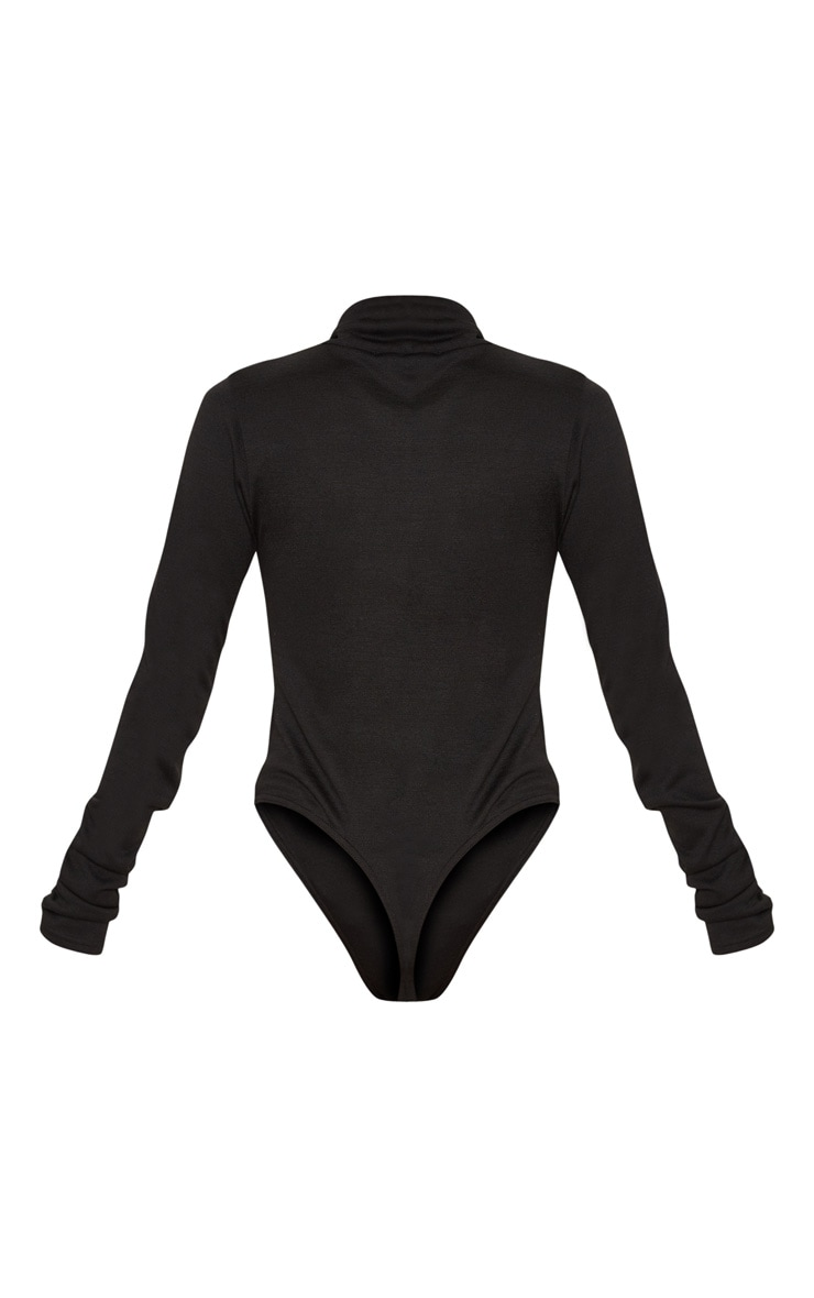 Black Fine Knit Roll Neck Bodysuit 4