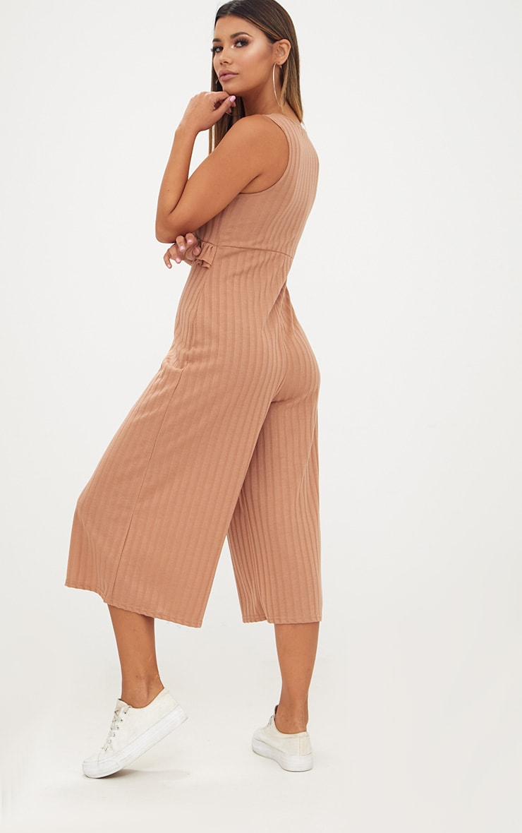 Camel Ribbed Frill Waist Culottes Jumpsuit 2