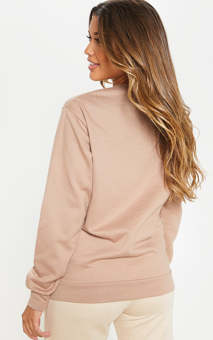 PRETTYLITTLETHING Taupe Europe Slogan Oversized Sweater 2