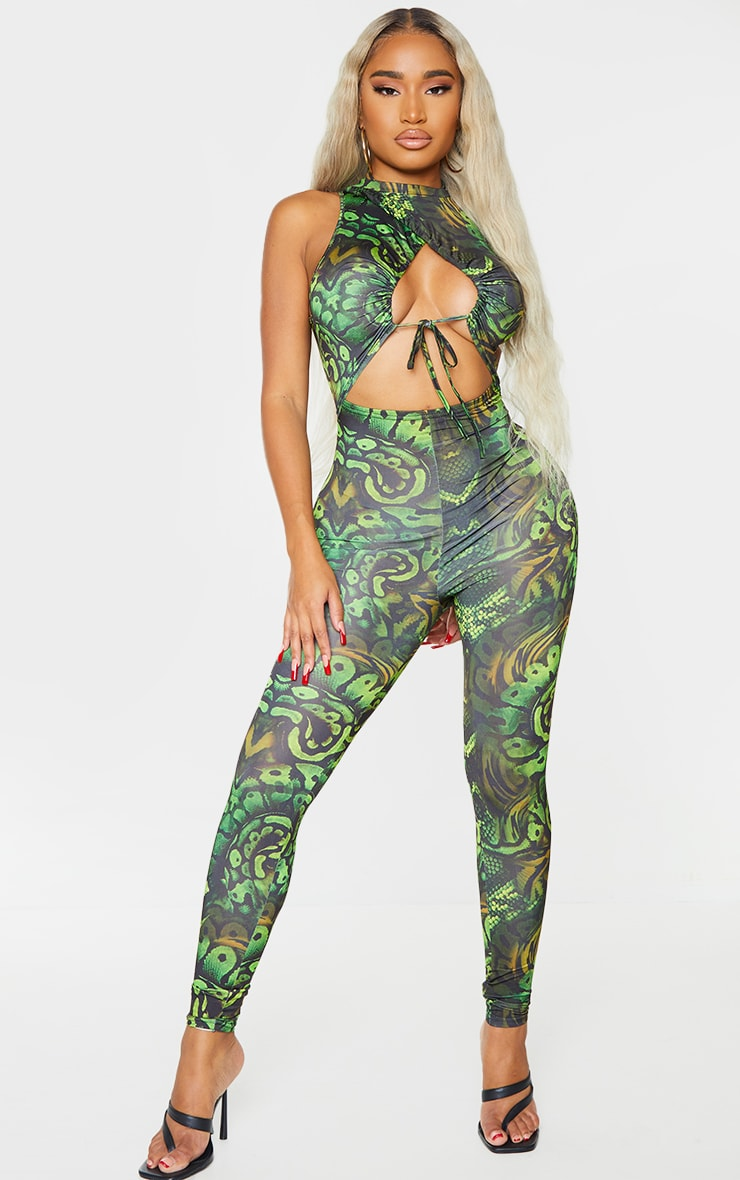 Shape Khaki Snake Print Slinky Ruched Tie Detail Cut Out Jumpsuit 1