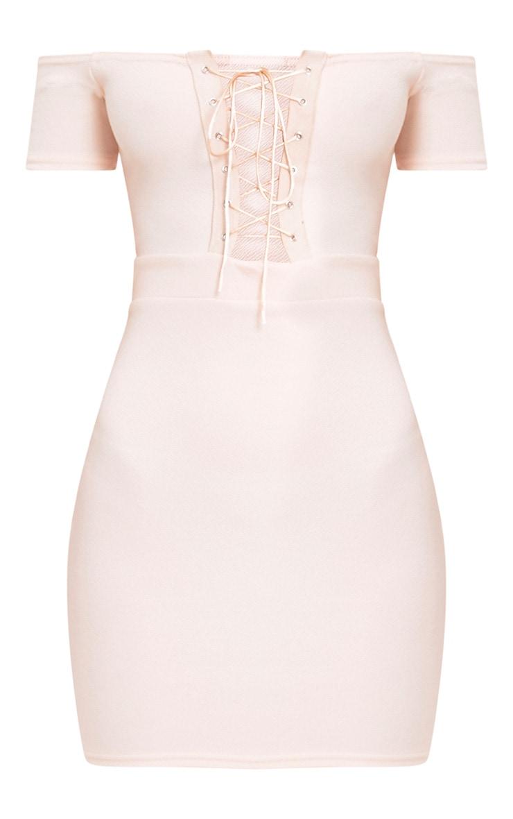 Florie Nude Bardot Corset Detail Bodycon Dress 3