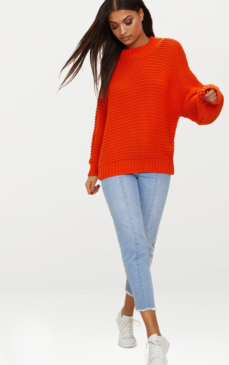 Orange Oversized Chunky Sweater 4
