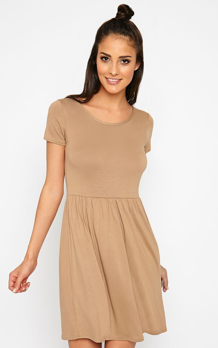 Basic Camel Skater Dress 1