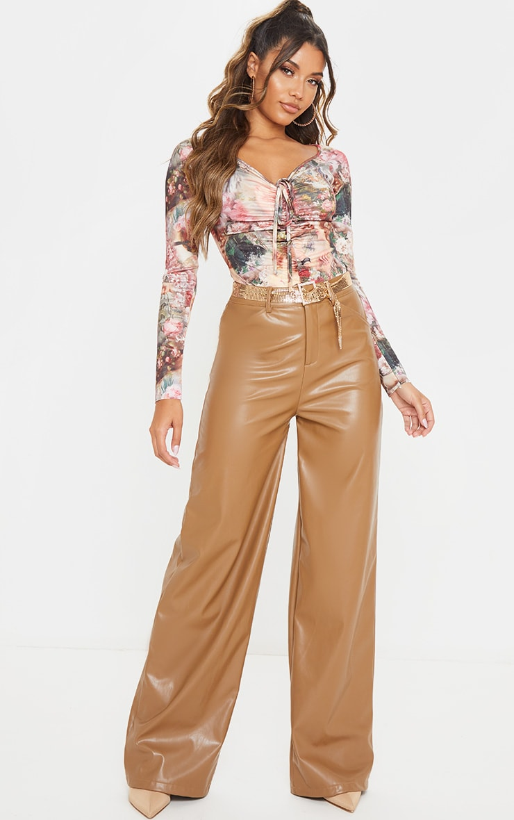Multi Renaissance Printed Ruched Front Long Sleeve Bodysuit 5