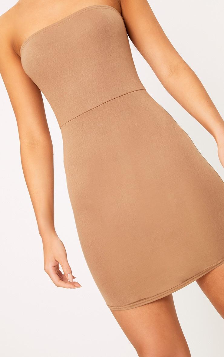 Camel Curve Hem Bandeau Bodycon Dress 5