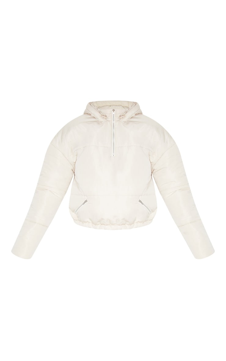 Cream Hooded Pull Over Puffer Jacket 3