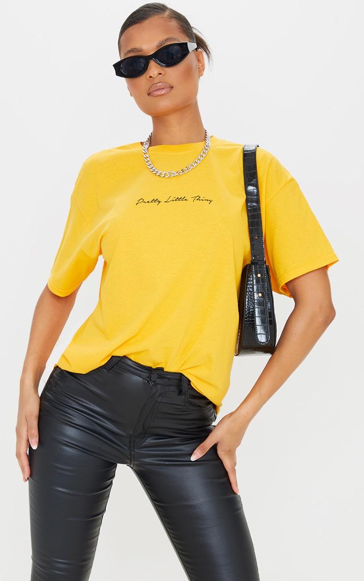 PRETTYLITTLETHING Mustard Graphic Oversized T Shirt 1