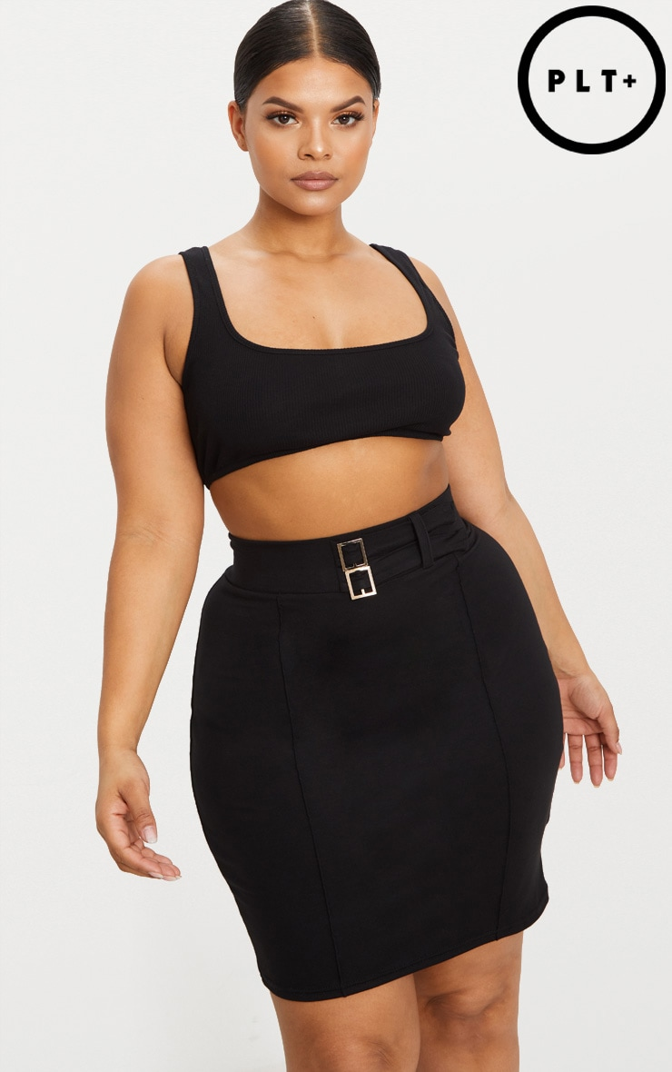 Plus Black High Waisted Bodycon Skirt 1