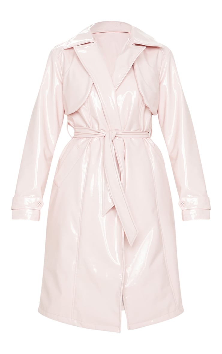 Pink Belted Patent Trench Coat 5
