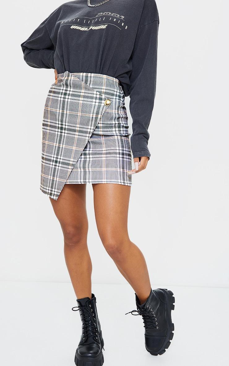 Stone Check Wrap Mini Skirt 2