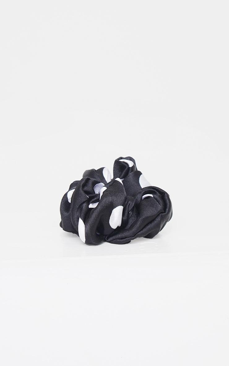 Black White Polka Dot Scrunchie 3