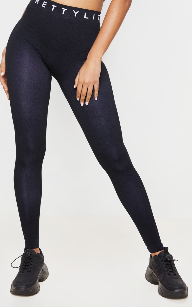 PRETTYLITTLETHING Black Seamless Leggings 2