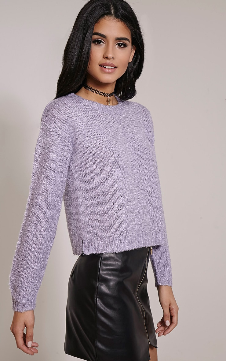 Karissa Lilac Boucle Knitted Jumper 3