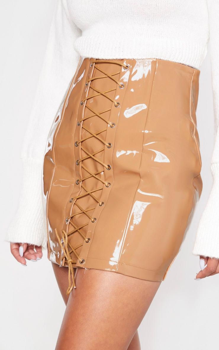 Camel Vinyl Lace Up Mini Skirt 6