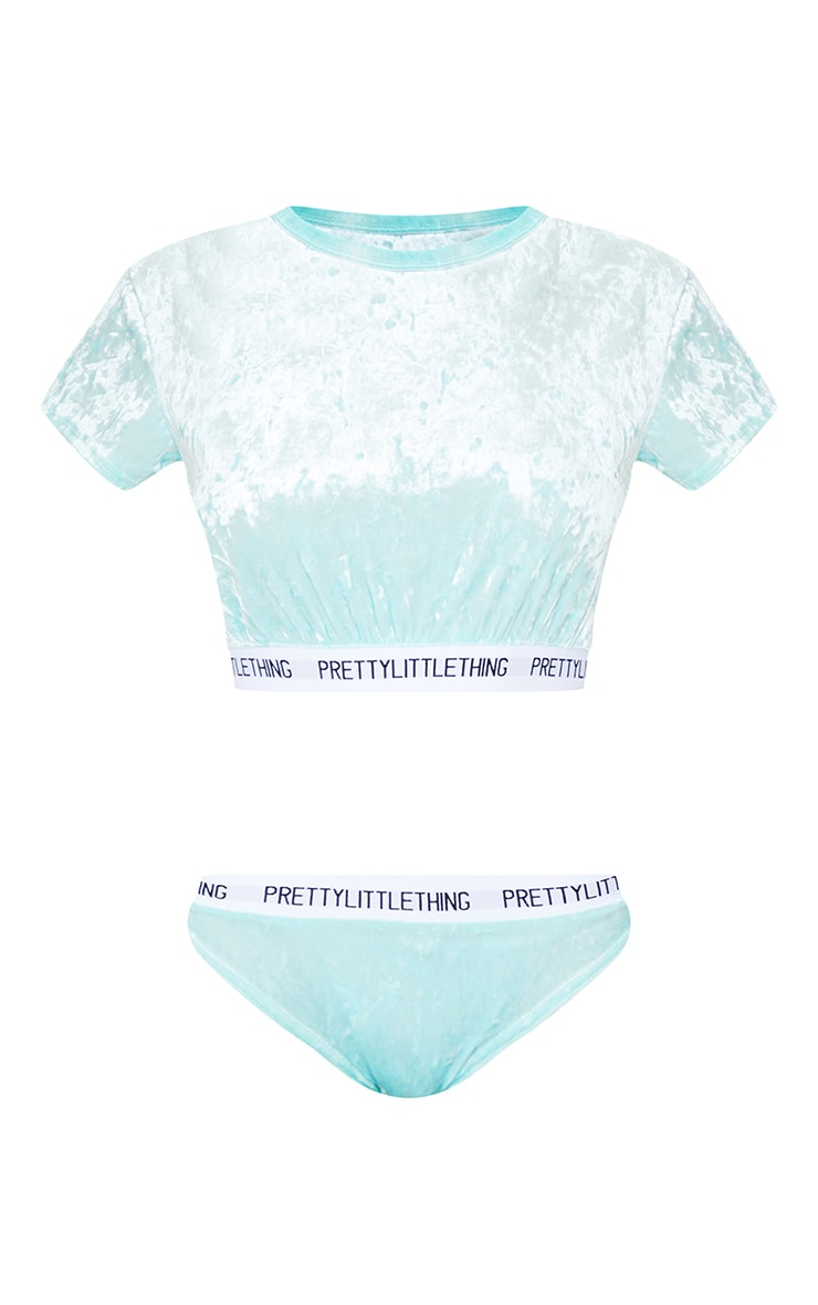 PRETTYLITTLETHING Mint Velvet Short Sleeve Top And Panties Pj Set 5
