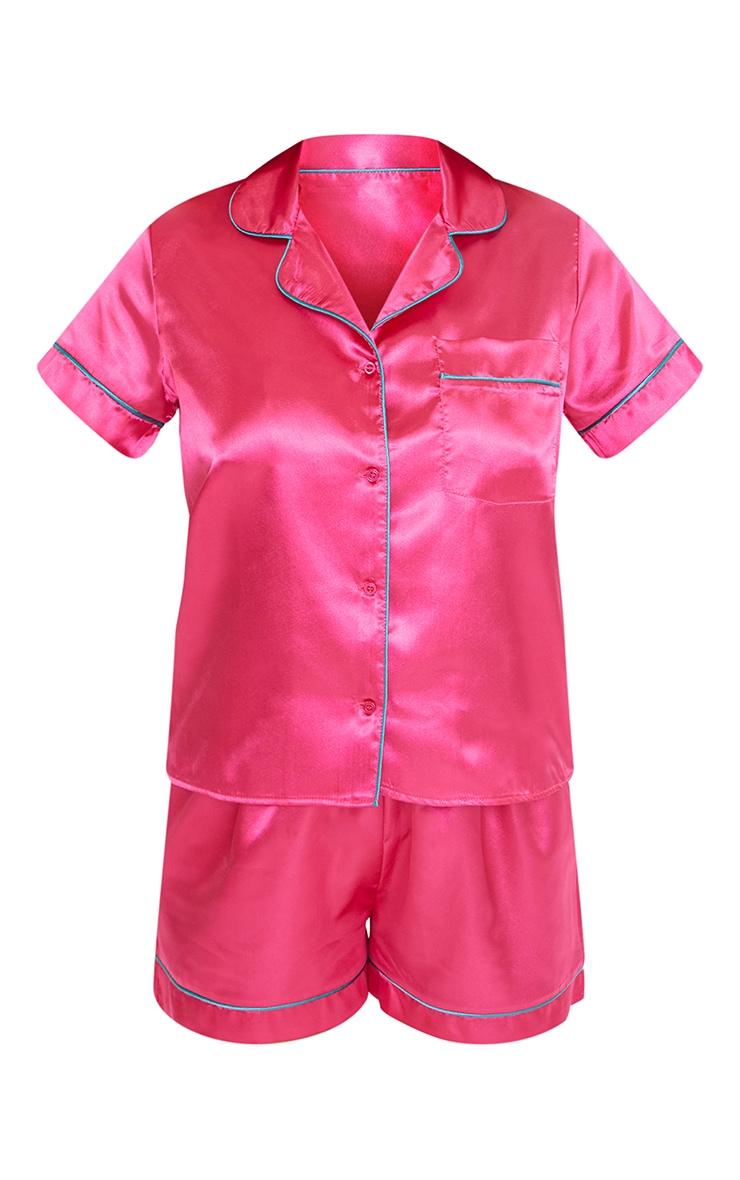 Hot Pink Satin Contrast Piping Short PJ Set 5