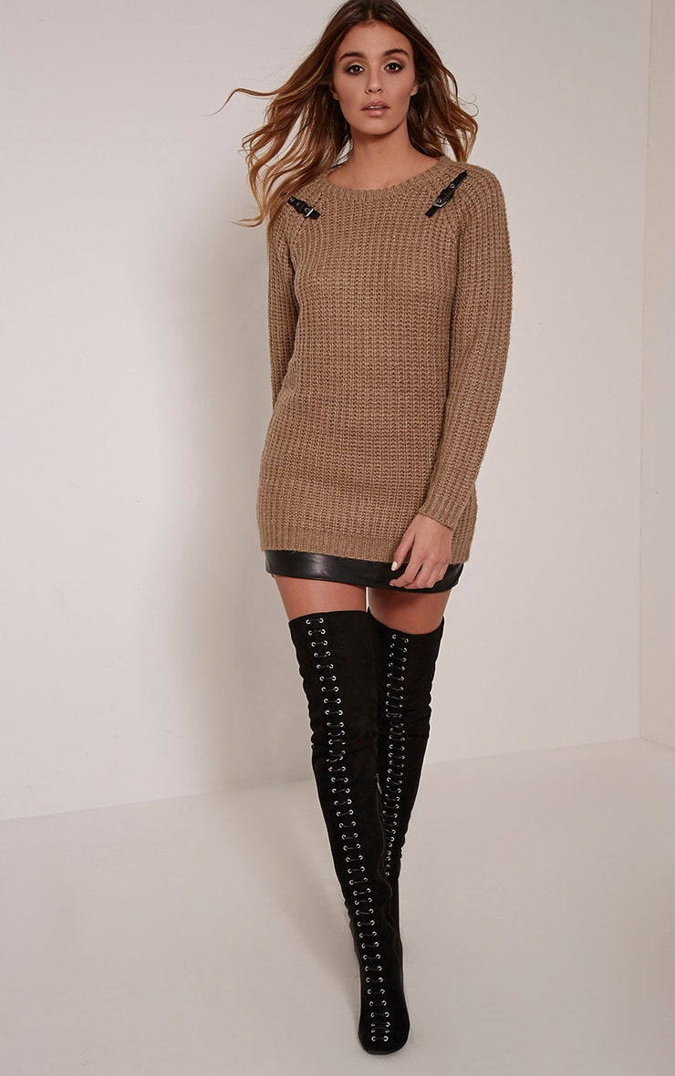 Emily Camel Buckle Detail Knitted Jumper 4