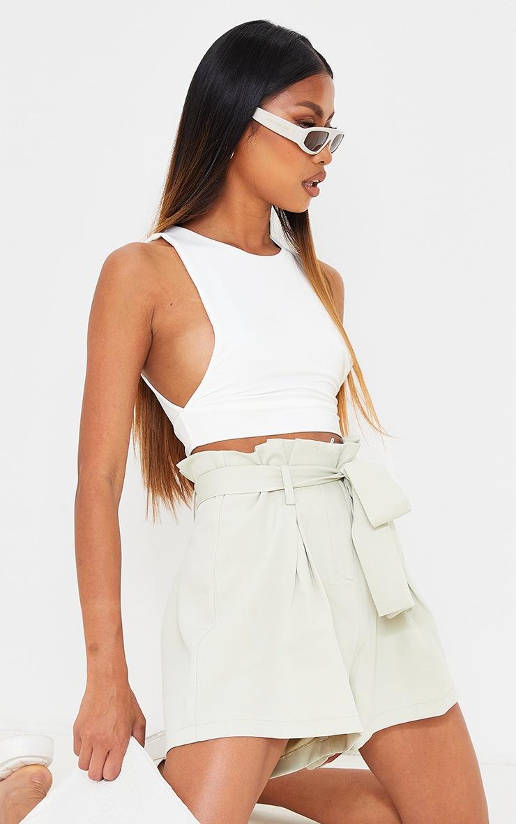 Sage Green Woven Paper Bag Tie Waist Shorts 4