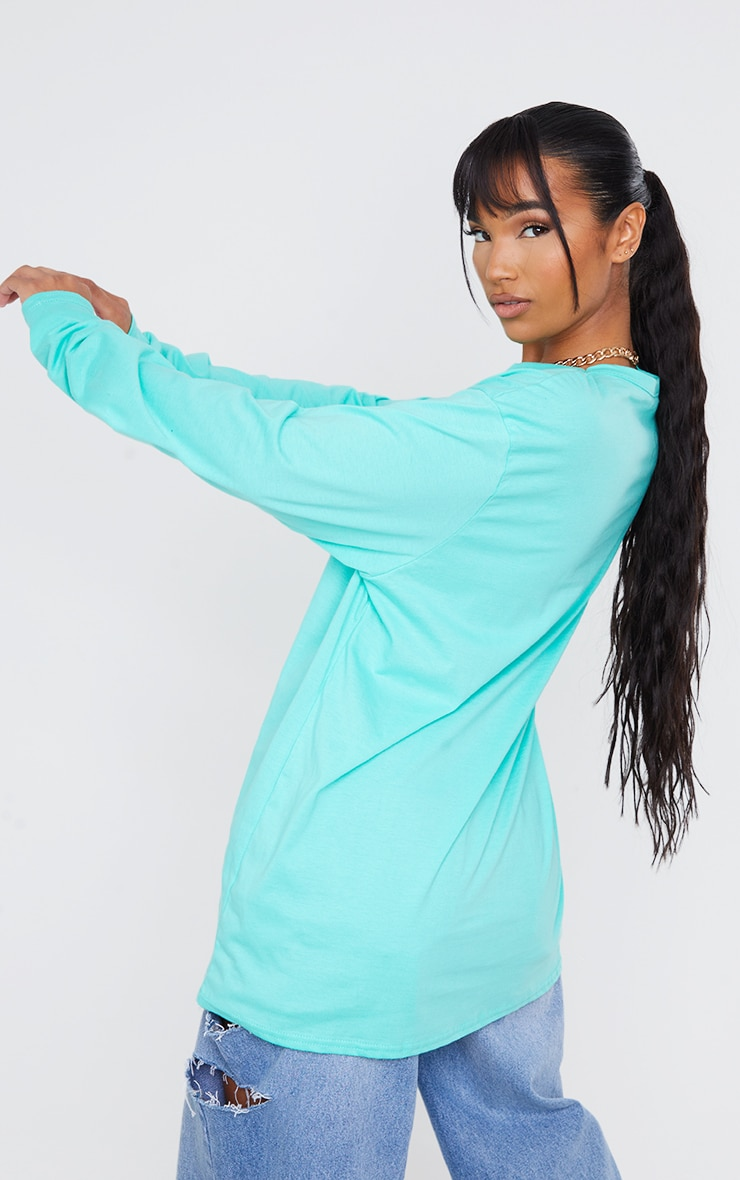 Tee-shirt manches longues turquoise oversize style boyfriend 2