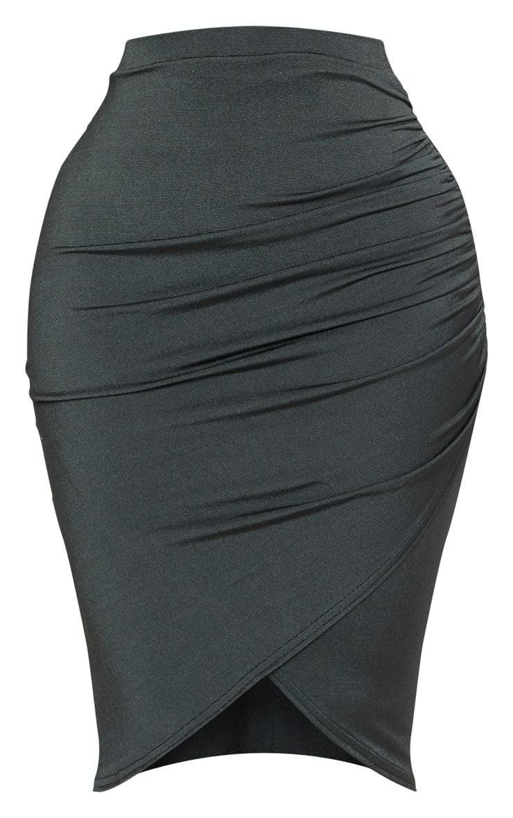 Shape Emerald Green Ruched Side Midi Skirt  3