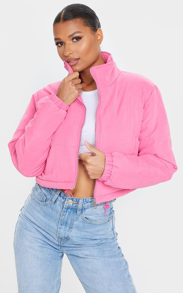 Pink Super Cropped Peach Skin Puffer 1