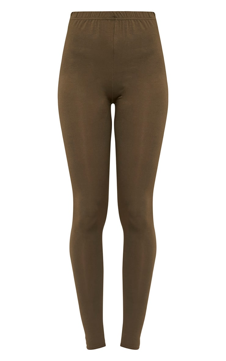Basic Khaki Jersey Leggings 3