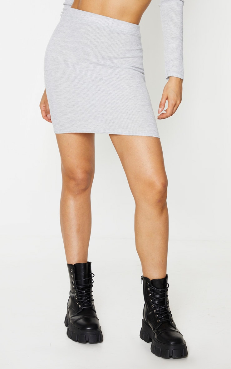 Tall Grey Ribbed Skirt 2