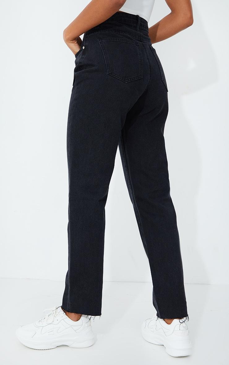 PRETTYLITTLETHING Straight Leg Washed Black Jean 3
