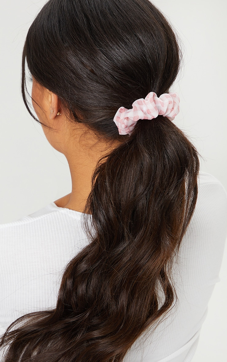 Pink Check Hair Scrunchie 1