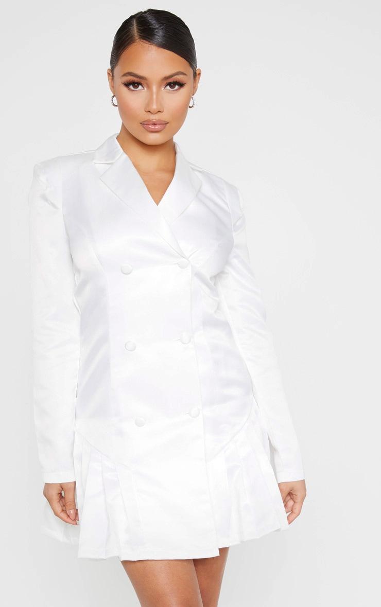Petite White Satin Pleat Detail Blazer Dress 1