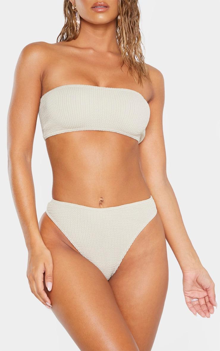 Taupe Crinkle Cheeky Bum Bikini Bottom 1