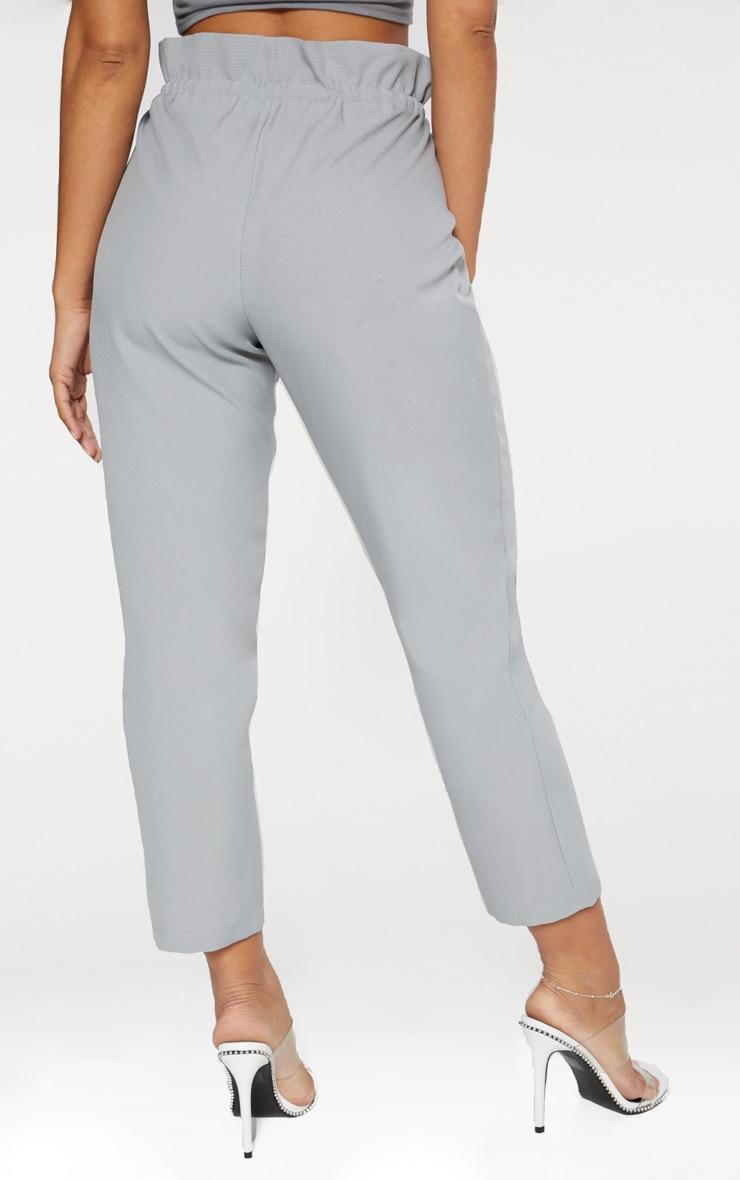 Grey Woven Paperbag Slim Leg Trousers 4
