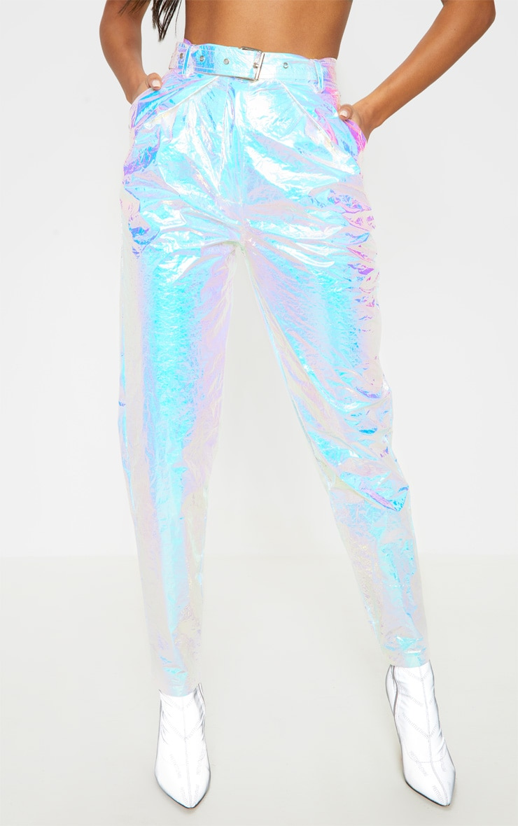 Silver Holographic Belted Cigarette Pants 2