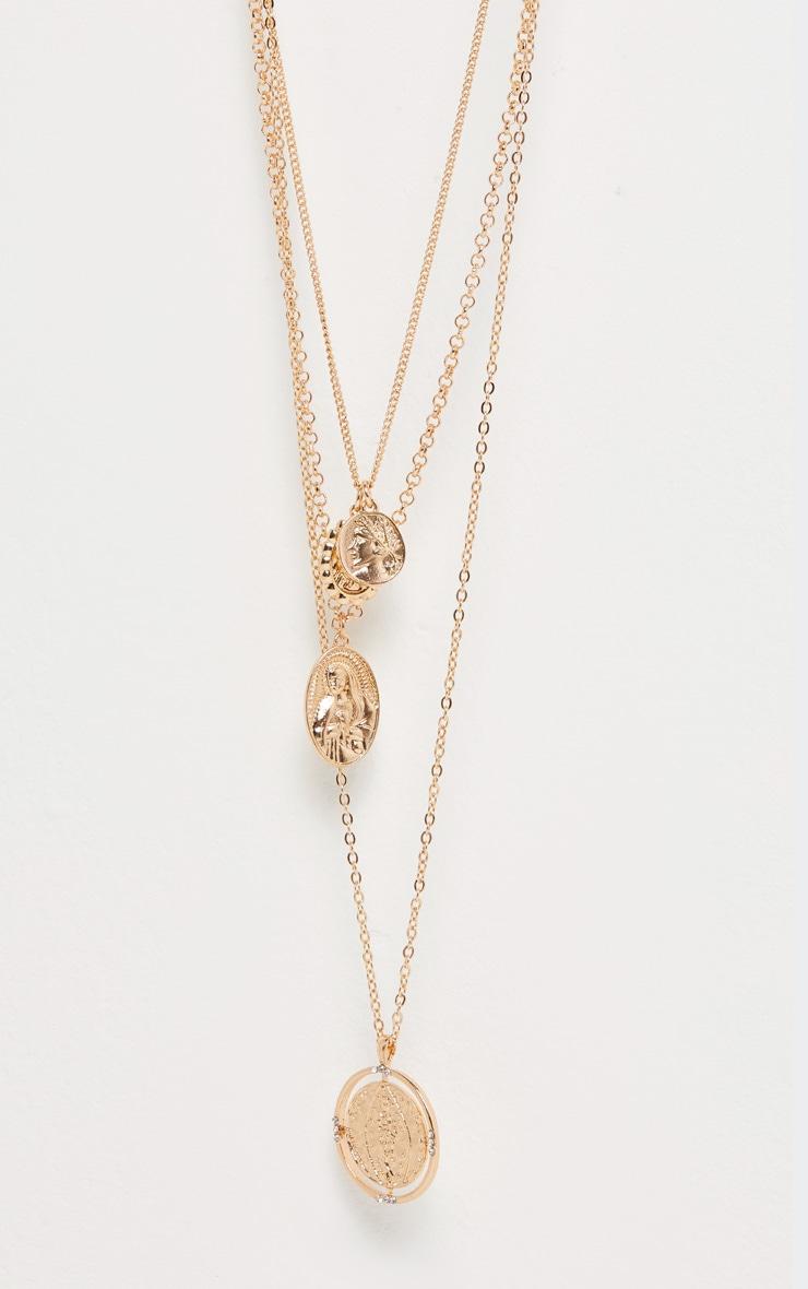 Collier superposé doré à médaillons style Renaissance 3