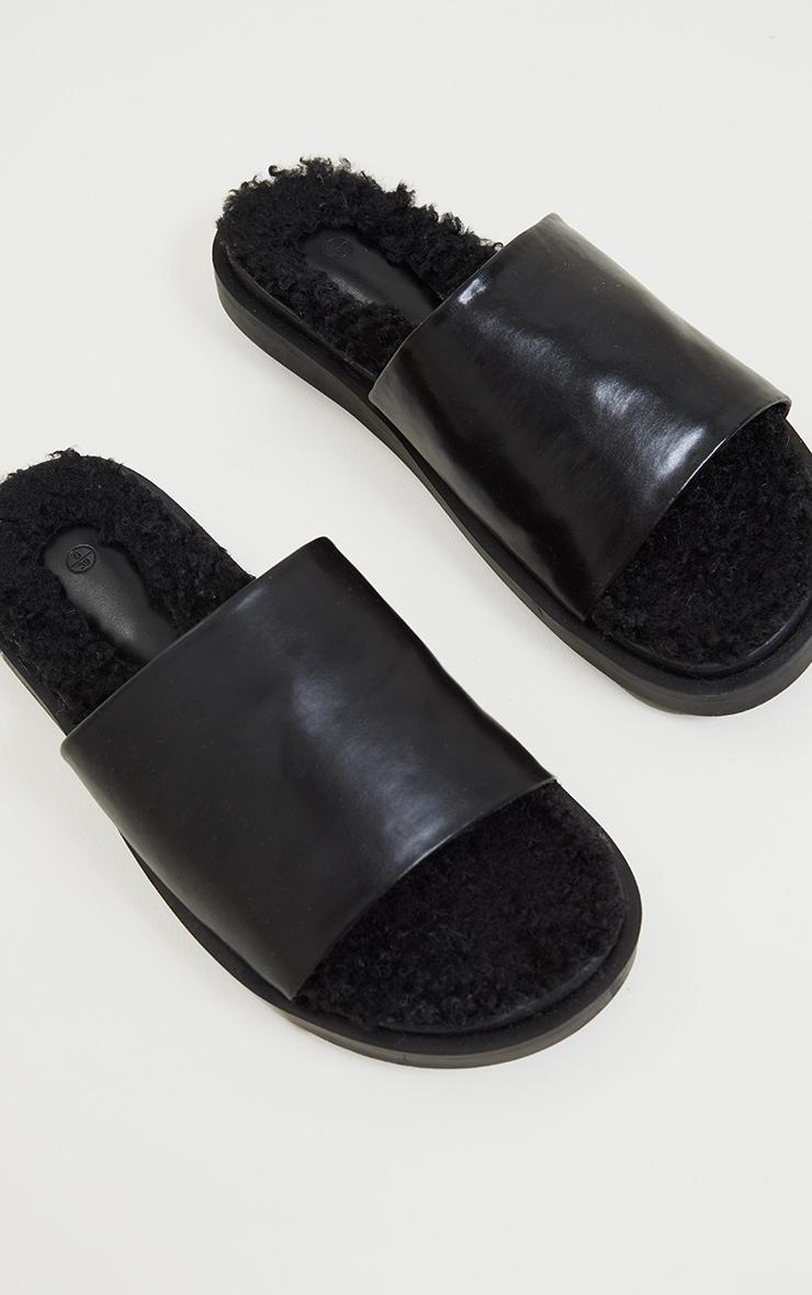 Black Faux Fur Sock Mule Slides 3