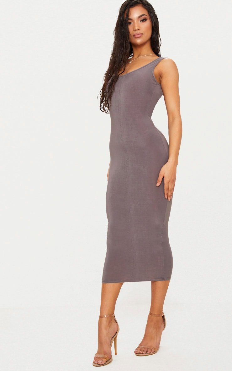 Charcoal Grey Scoop Neck Low Back Midaxi Dress 4