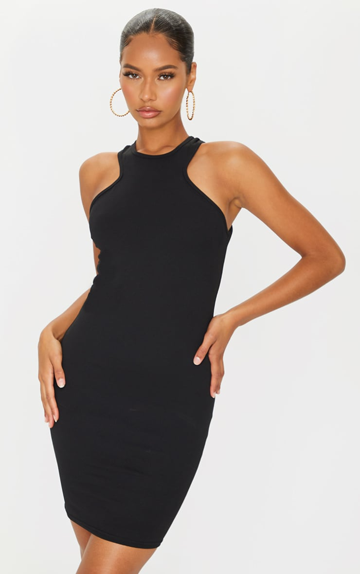 Black Racer Neck Bodycon Dress 3