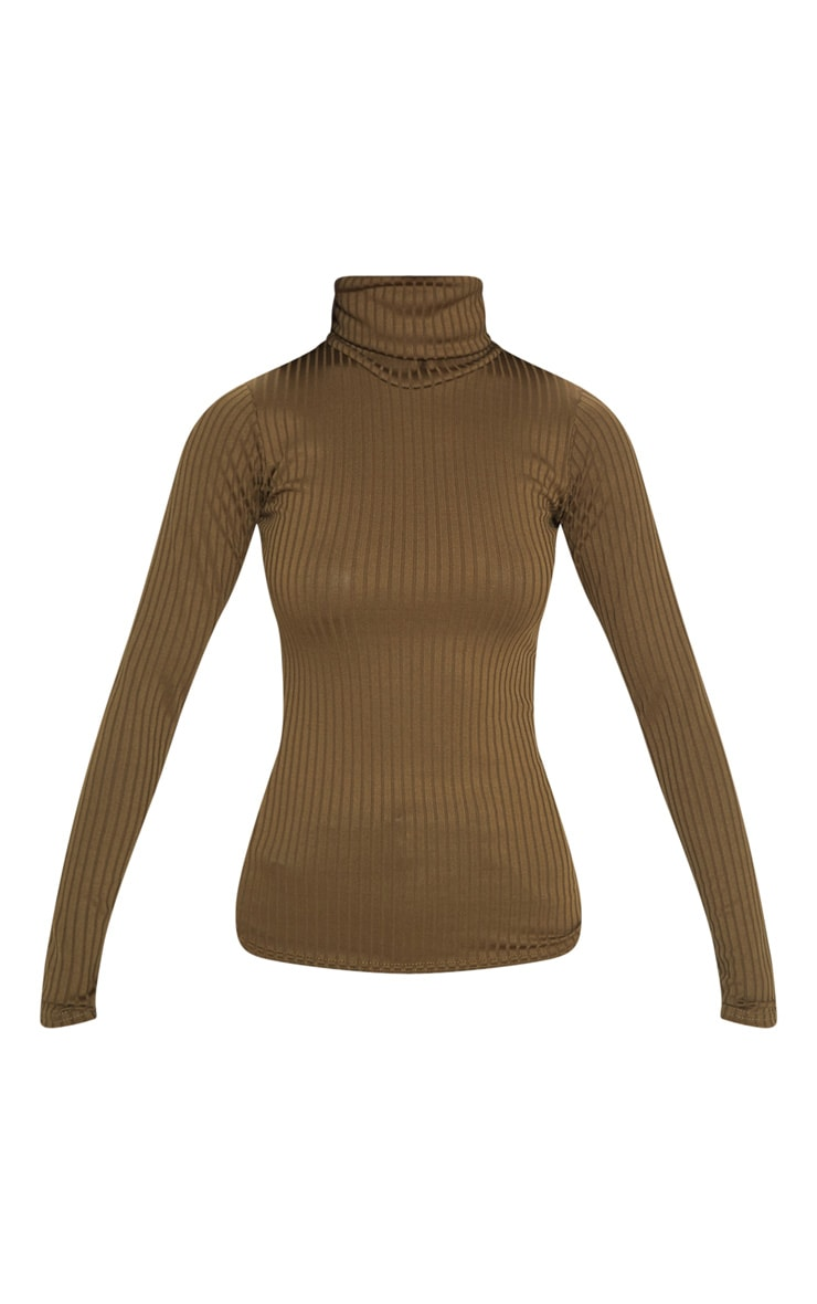 Rheta Khaki Ribbed Polo Neck Top 3