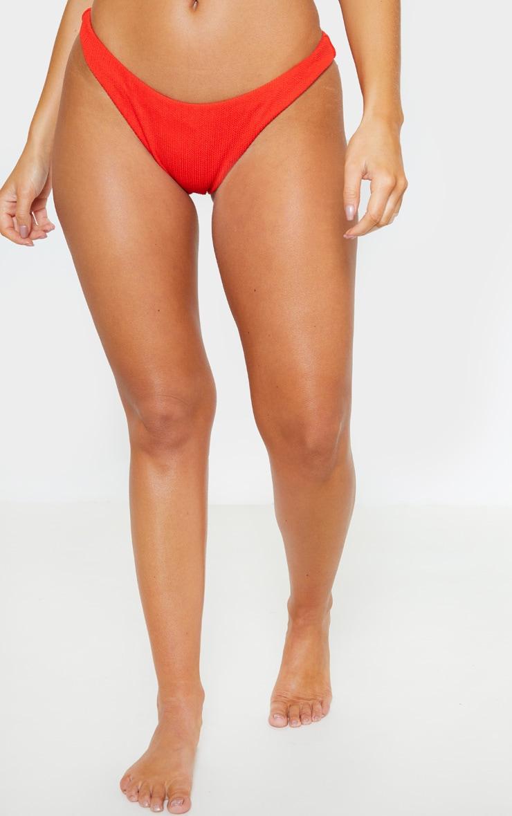 Red Mini Crinkle Bikini Bottom 2