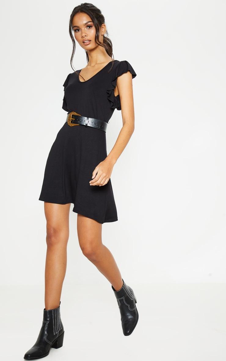 Black Frill Sleeve Shift Dress 4
