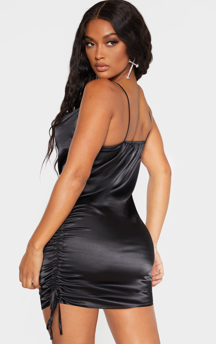 Shape Black Satin Cowl Neck Ruched Side Bodycon Dress 2