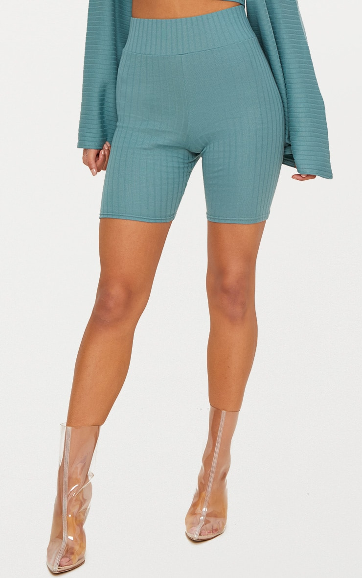 Mineral Blue Rib High Waisted Cycle Shorts 2