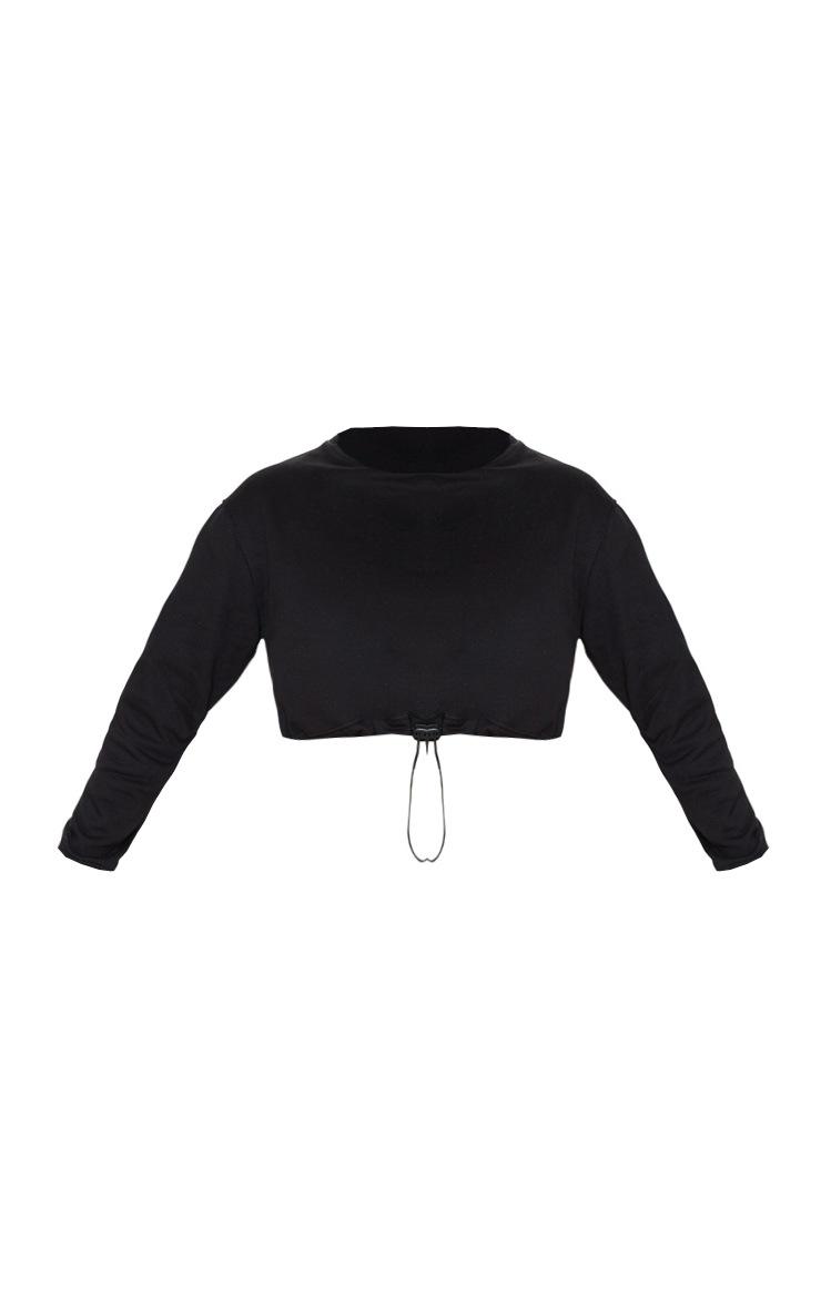 Crop top en jersey noir à cordon 3