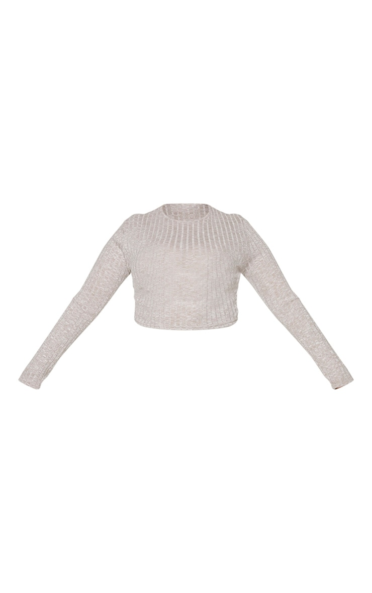 Plus Sand Knitted Rib Long Sleeved Crop Top 5