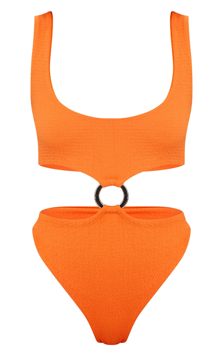 Orange Crinkle Two Tone Ring Middle Swimsuit 3