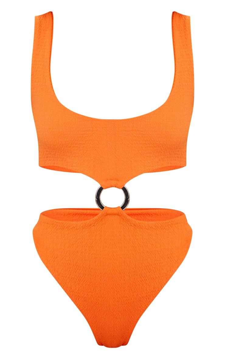 Maillot une pièce orange plissé avec anneau au milieu 3