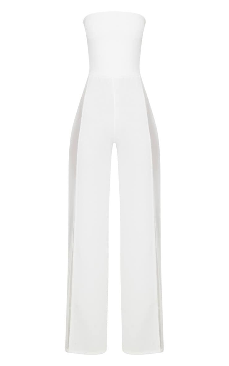 White Mesh Insert Jumpsuit 3