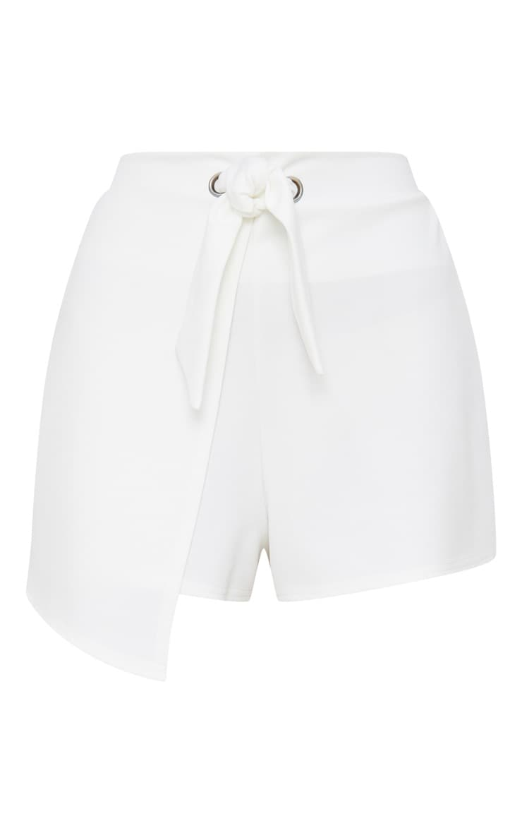 White Tie Front Wrap Short 3