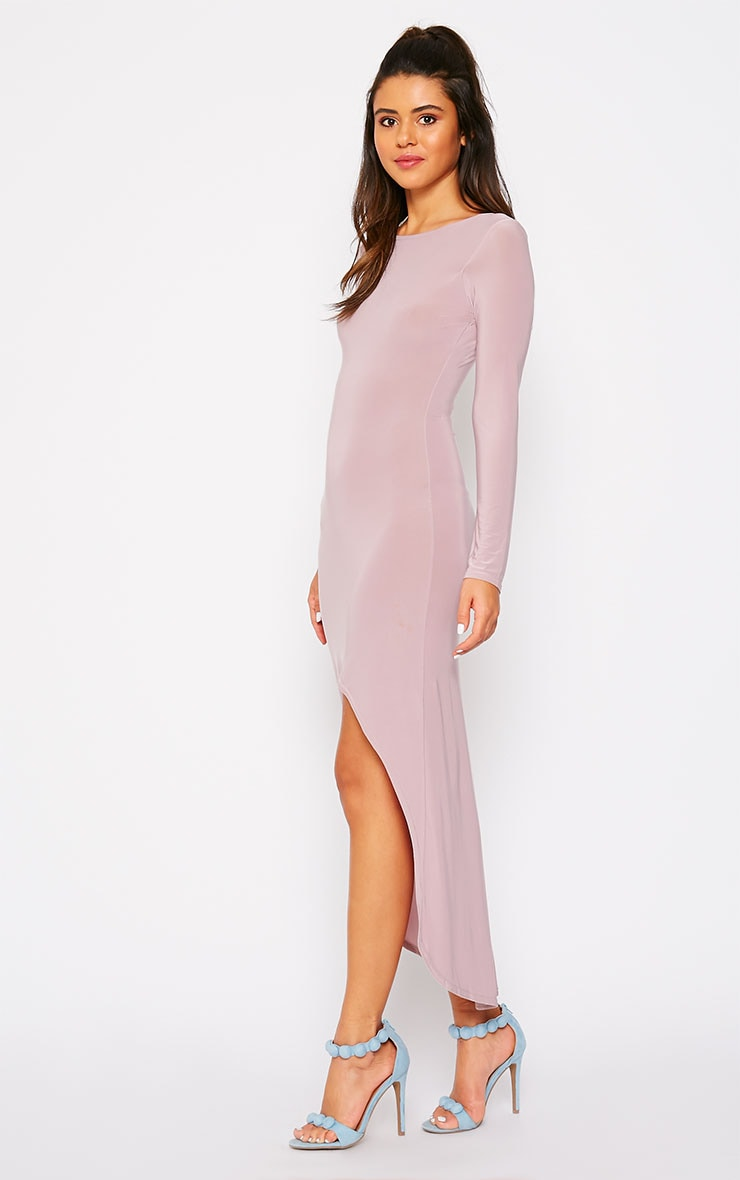 Fearne Mauve Slinky Dip Hem Dress 4