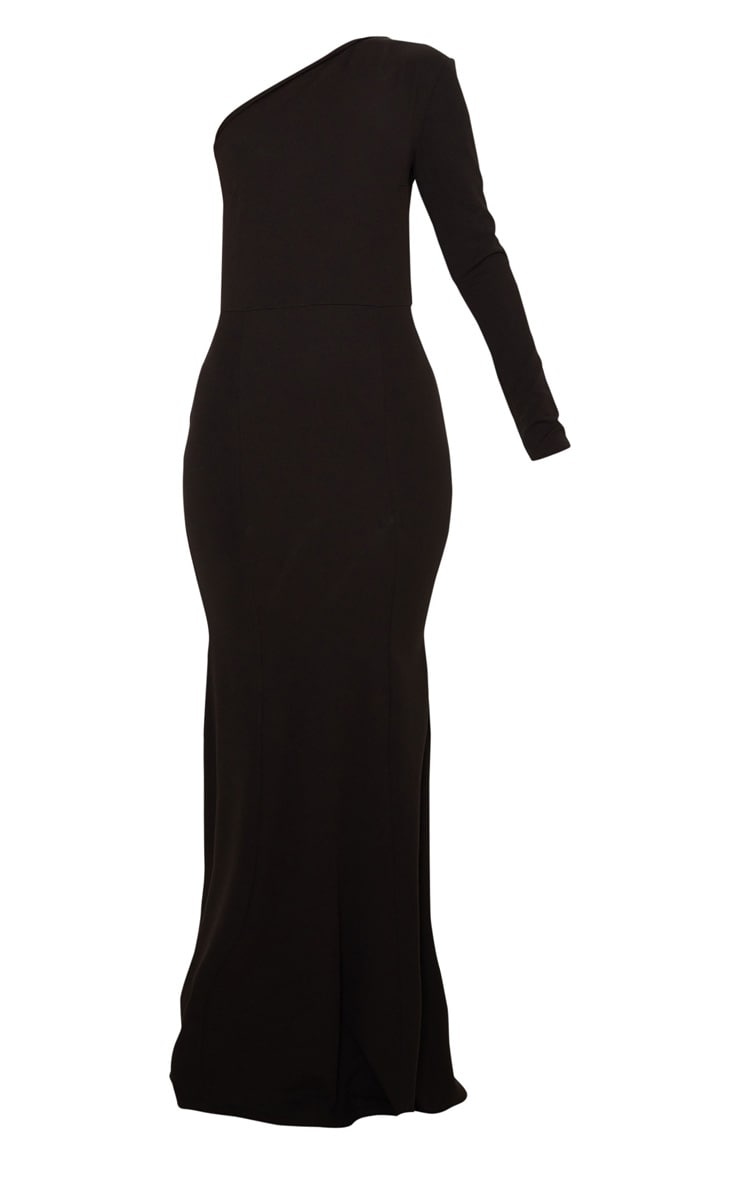 Black One Shoulder Long Sleeve Maxi Dress 3